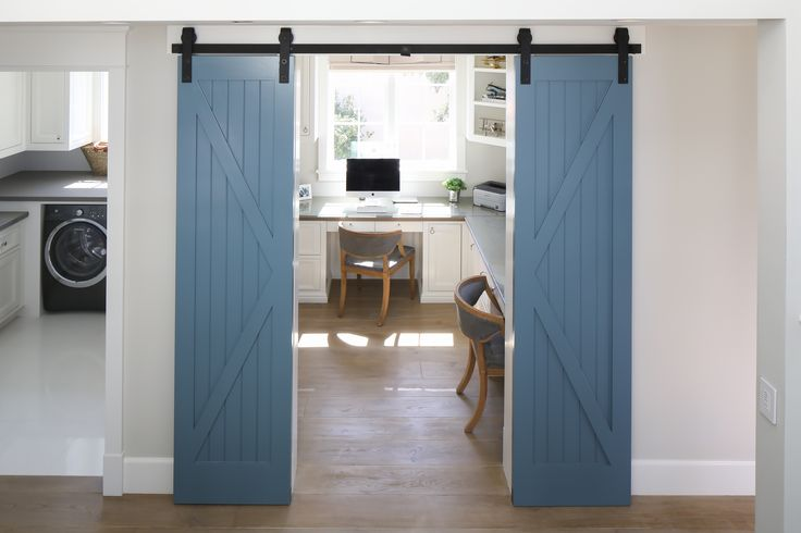 We Love These Thin Blue Sliding Barn Doors They Separate