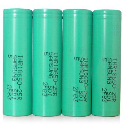 Wholesale INR18650 - 25R 3.7V 18650 2500mAh Rechargeable Lithium-ion Battery 30A (GREEN,4PCS) | Everbuying