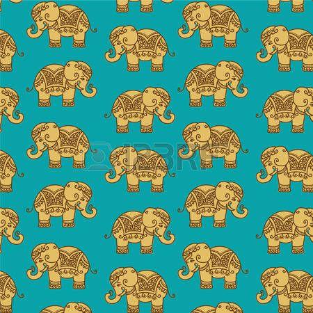 Modelo decorativo elefante indio Vectores