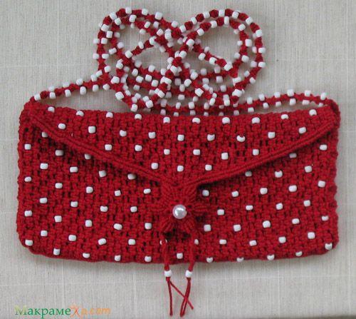 DIY Red macrame handbag with polka dots - photo tutorial (in russian)