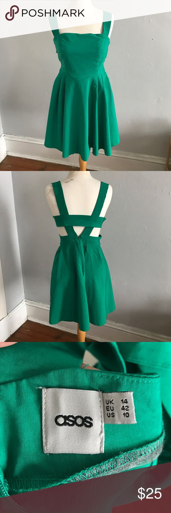 "ASOS Kelly green dress. Size 10. ASOS dress, Kelly green, has an open back with 3 straps, very comfortable fit. Length from waist to hem is 18"". Only worn once to a wedding. ASOS Dresses Midi"