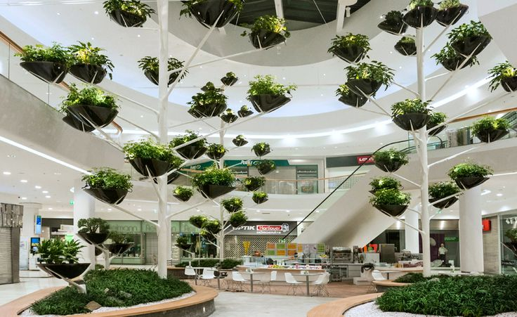 Alexis Tricoire - Tricoire Design Vegetal Atmosphere. More incredible suspended planters in atrium space