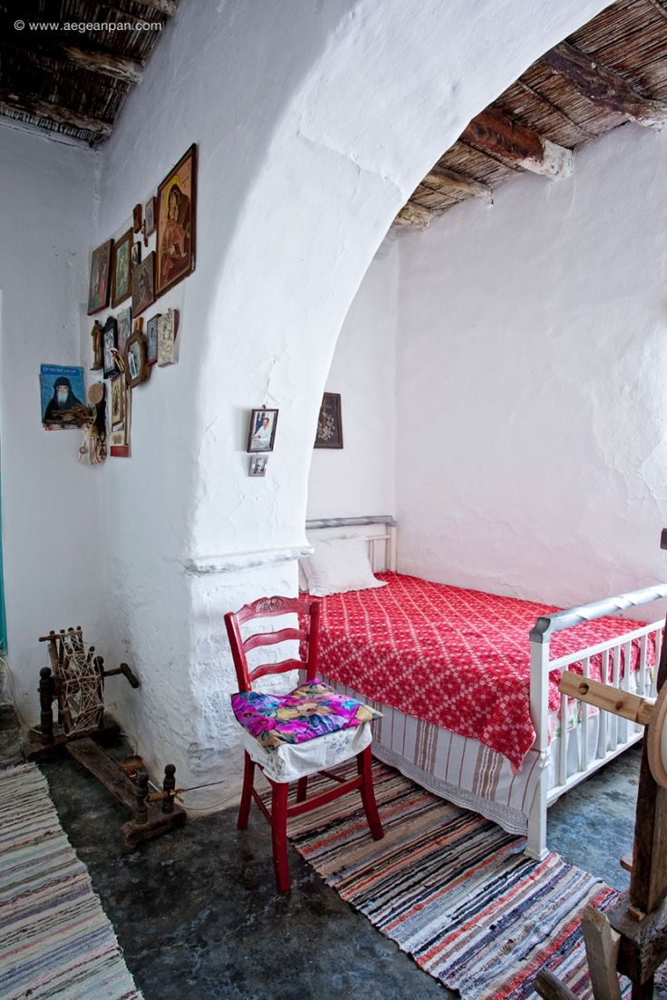 Typical traditional Cycladic interior from Marpissa village Paros