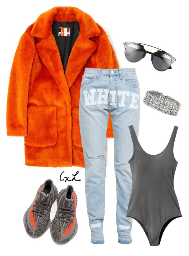 """Untitled #120"" by clynnstyle on Polyvore featuring MSGM, adidas, Off-White, RVCA, GUESS and Christian Dior"