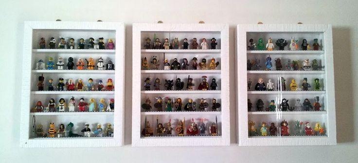 Lego figures displayed in custom cases