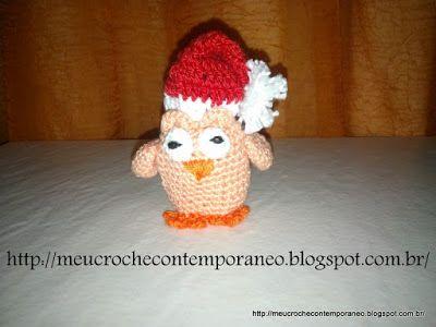 Meu Crochê Contemporâneo: Amigurumi Corujinha Noel