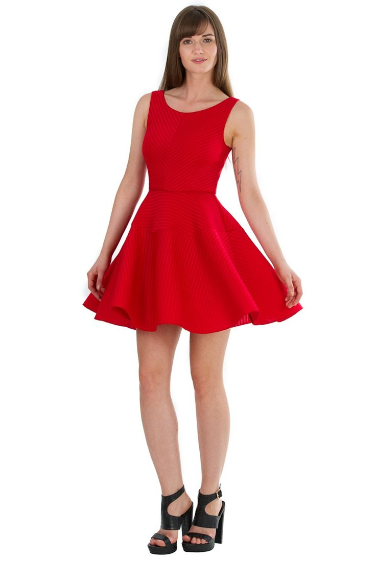Full Skirt Textured Mini Dress - Red - Front - DR488A