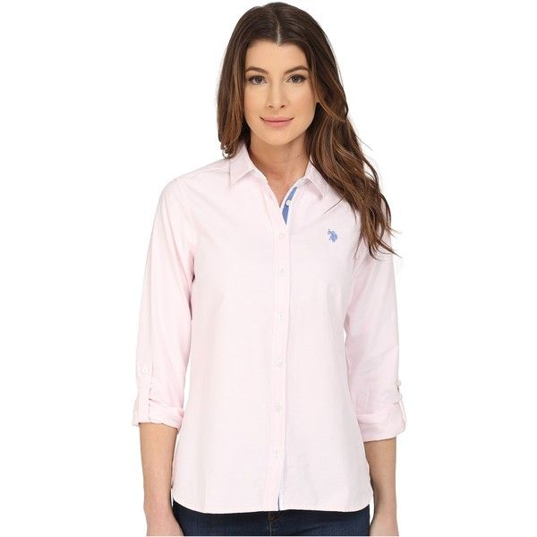 U.S. POLO ASSN. Long Sleeve Solid Oxford Shirt (Classic Pink) Women's... ($22) ❤ liked on Polyvore featuring tops, purple, long sleeve polo tops, button up oxford shirt, polo oxford shirt, convertible tops and pink oxford shirt