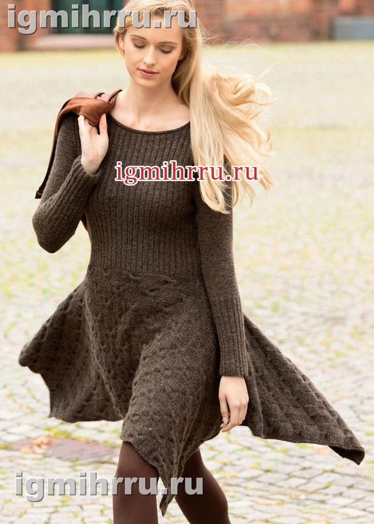 Теплое коричневое платье с юбкой из «кос». Вязание спицами