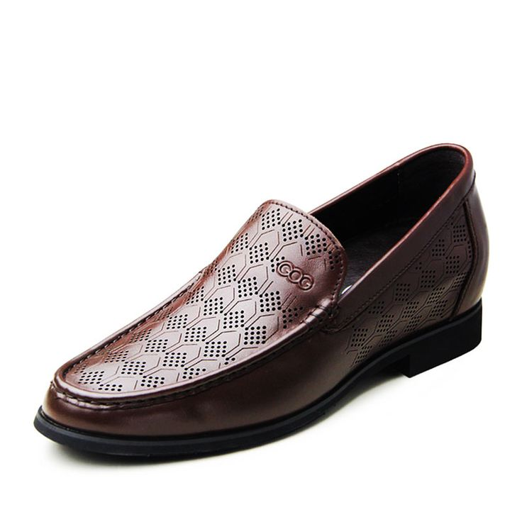 Brown  height with shoes 6.5cm / 2.56inch with the SKU:MENGOG_91412 - Fashion British slip-on men tall sandals increase height 6.5cm / 2.56inches formal shoes