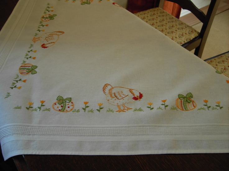 Embroidered Easter Tablecloth