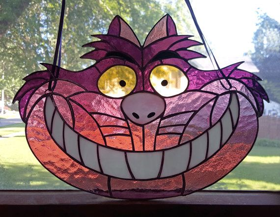 Cheshire Cat Stained Glass Suncatcher Disney by GlassHeartDesign