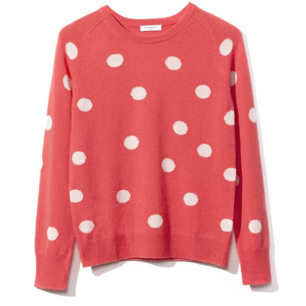Equipment Sloan Crew Neck Sweater found on Polyvore featuring tops, sweaters, shirts, blusas, equipment sweaters, polka dot shirt, crew-neck sweaters, red top and red dot shirt