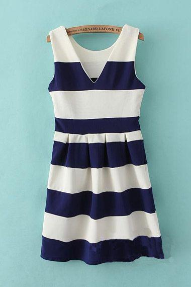Navy & White stripes~