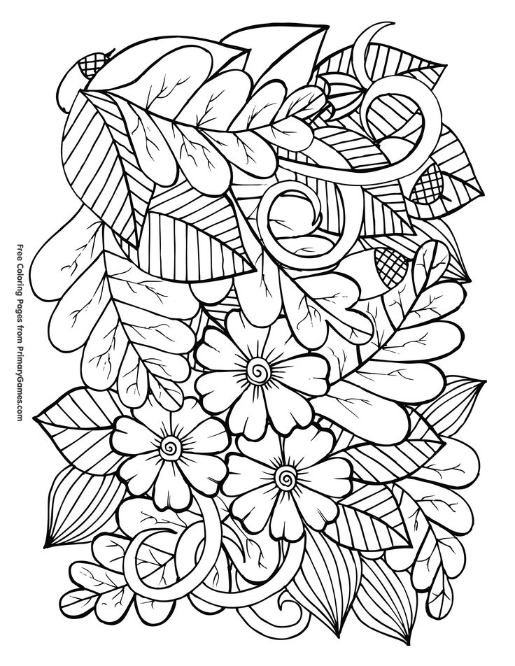 Leaves and Acorns Coloring Page • FREE Printable eBook