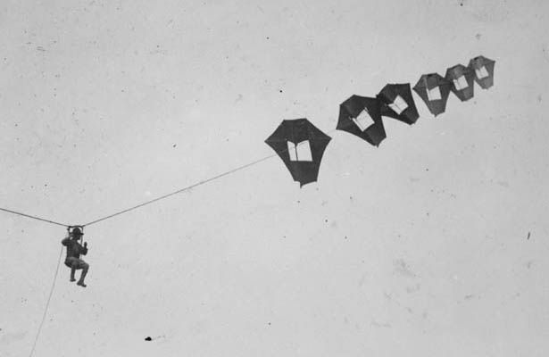 Before airplanes were perfected for reconnaissance, WWI-era armies used man-carrying kites as their eyes in the sky.