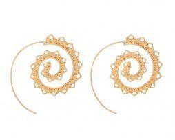 Luxusné naušnice v tvare špirálového kruhu,ozdobené miniatúrnymi srdiečkami.