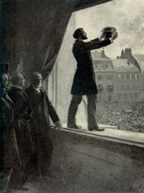 Gambetta proclamant la Troisième République à l'Hôtel de ville de Paris le 4 septembre 1870, Howard Pyle, XIXe siècle, Delaware Art Museum, États-Unis.