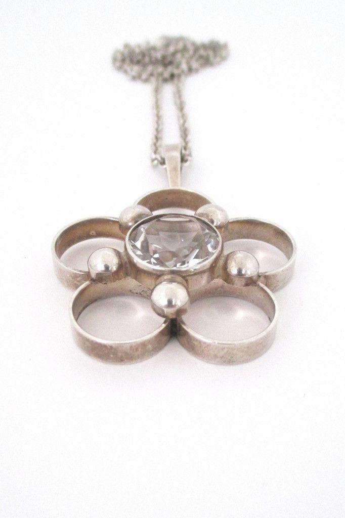 Arne Nordlie, Norway - large silver & crystal pendant necklace #necklace #Norway #pendant