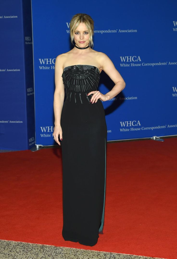 """Spotlight"" actress Rachel McAdams also opted for a simple black dress to attend the White House Correspondents' Association Dinner on April 30, 2016."