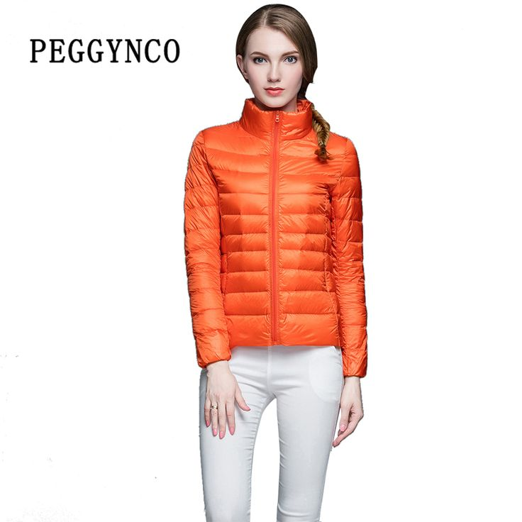 Sping Womens Puffer Coat Pocketable Orange Ultra Light Stand Collar Short Bomber Jacket Thermal PE Padded Female Duck Down Coats