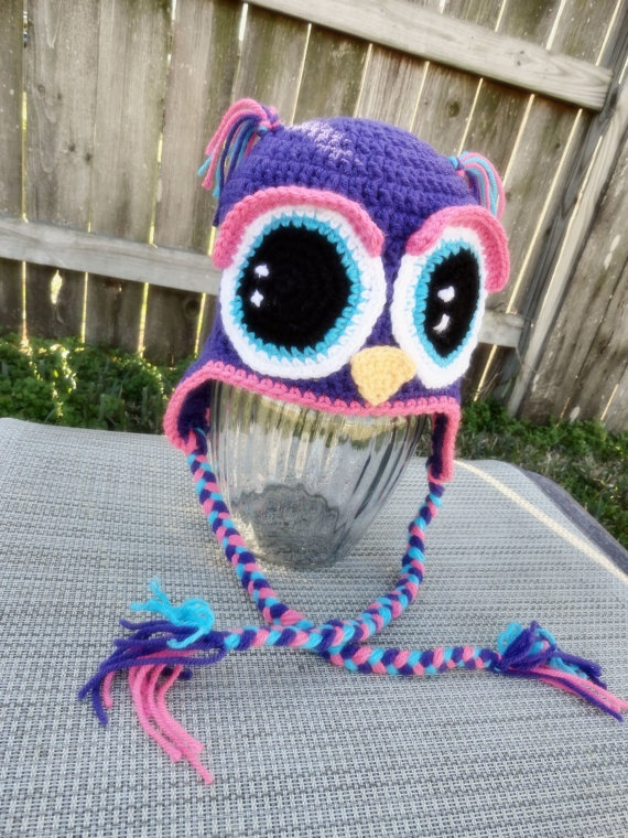 Crochet owl hat with big eyes from etsy