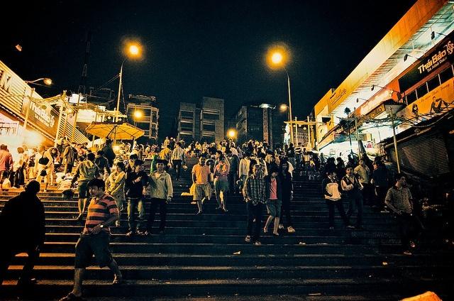 Walking the Stairs, Dalat Night Market in Vietnam
