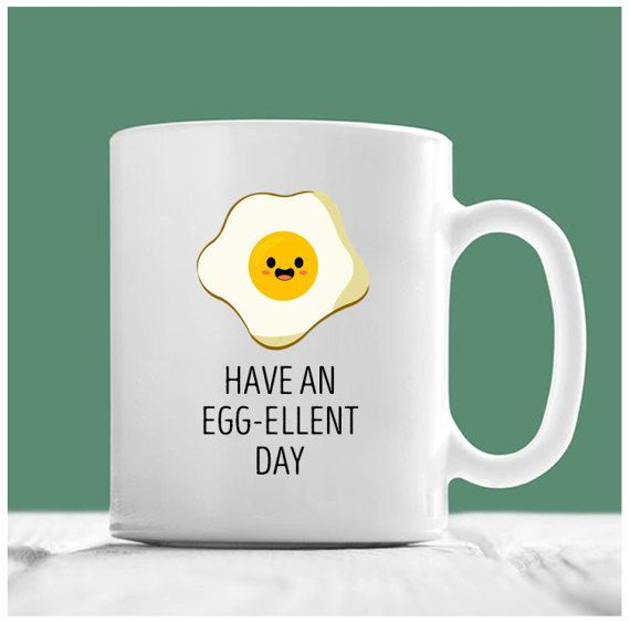 Egg Coffee Mug, Have An Egg-Cellent Day, Egg Mug, Have A Good Day Mug, Cartoon Eggs, Egg Emoji, Gifts For Mom, Chef Mug, Gifts For A Chef  -Perfect gift for this holiday season  -Available in 11 oz. and 15 oz.  -Design is printed on both sides of cup  -Dishwasher and microwave safe  -All of our products are original, made to order  -The highest quality printing possible is used. It will never fade no matter how many times you wash it  -Printed and shipped from the USA  *Custom designs…