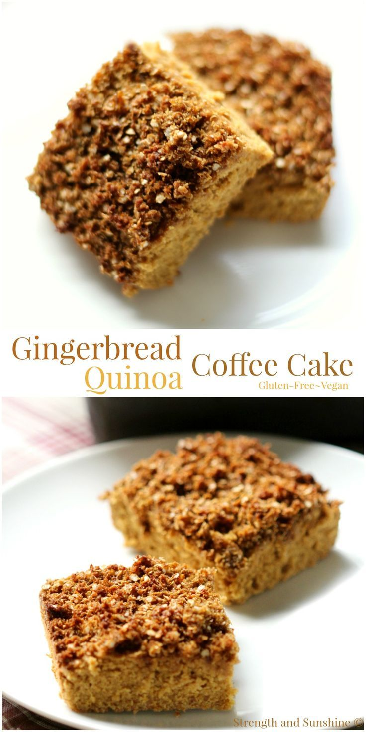 Gingerbread Quinoa Coffee Cake | Strength and Sunshine /RebeccaGF666/ Get cozy with some coffee and a slice of this gingerbread quinoa coffee cake! A warm holiday flavor with the protein of quinoa, gluten-free and vegan, this healthy coffee cake is perfect for a winter breakfast, a weekend brunch, or healthy holiday dessert!