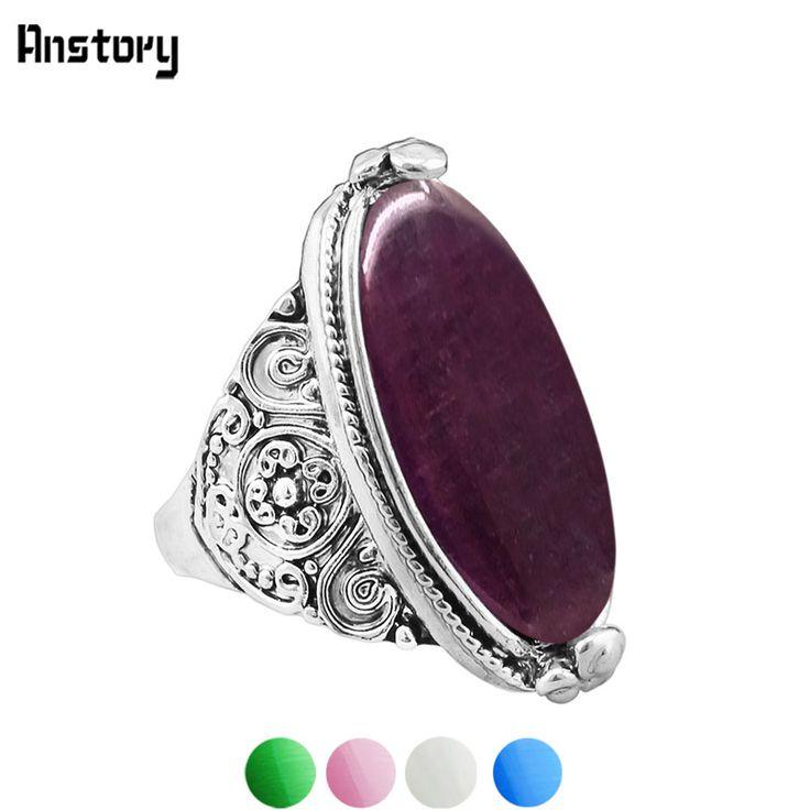 Bloem Staart Ovale Opaal Ringen Vintage Look Oud Zilver Persoonlijkheid Mode-sieraden