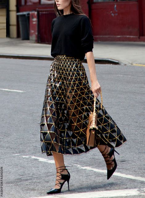 Black sweater, metallic see-through midi skirt (needs a slip for out in public) and amazing back strappy sandals.