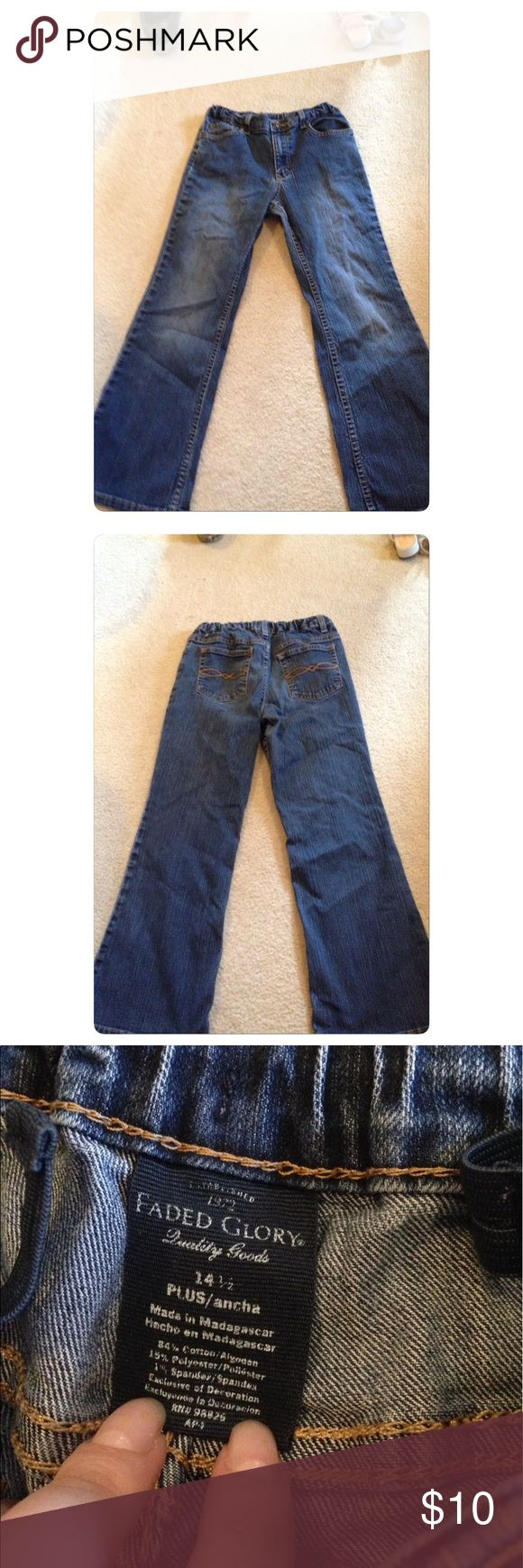 Medium wash jeans! These are so cute and look great dressed up or down! They come from a smoke free but pet friendly environment! They have no holes or stains. I ship Monday-Friday! I don't hold or trade. I don't negotiate the price in the comments. I only sell through poshmark. Price is firm Faded Glory Bottoms Jeans