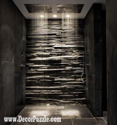 shower tile ideas, shower tile designs, tiling a shower, black stone tile shower