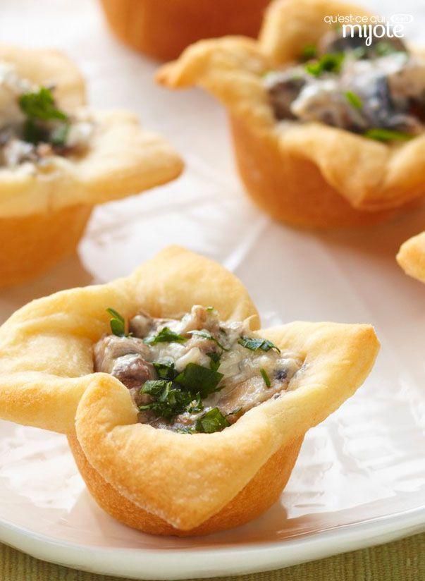 Tartelettes crémeuses aux champignons #recette