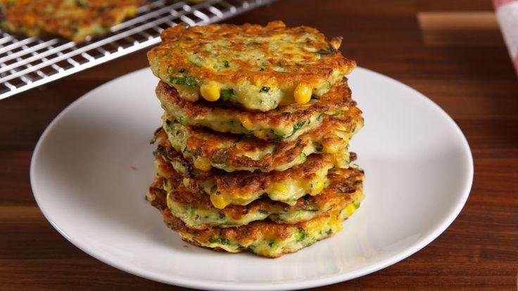 Zucchini Corn Cakes http://www.delish.com/cooking/recipe-ideas/recipes/a51738/zucchini-corn-cakes-recipe/