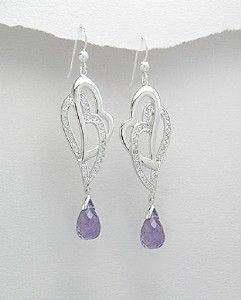 Sterling Double Heart CZ Amethyst Briolette Earrings