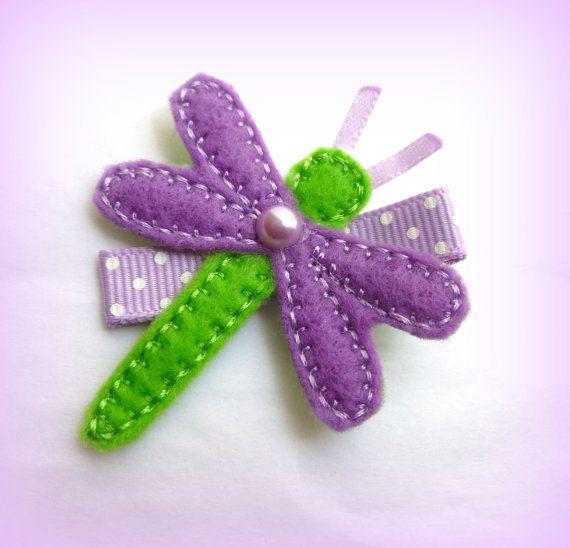 Purple and Green Felt DragonFly on Alligator by RockinPrincessShop, $3.00