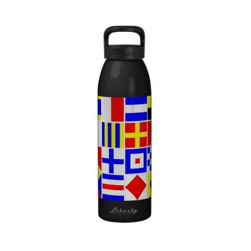 Colorful Nautical Signal Flags Pattern Water Bottles