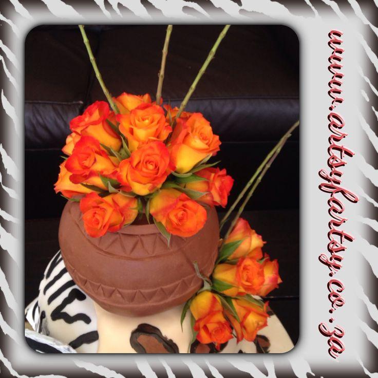African Pot Cake with Fresh Orange Roses