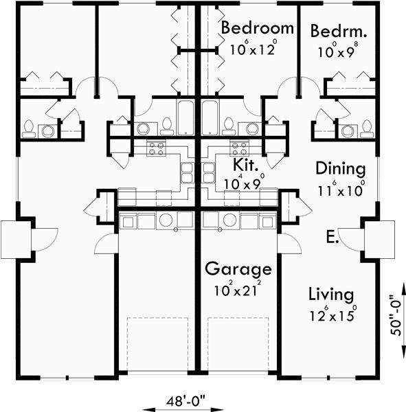 Main floor plan for d 449 one story duplex house plans for 3 story duplex floor plans