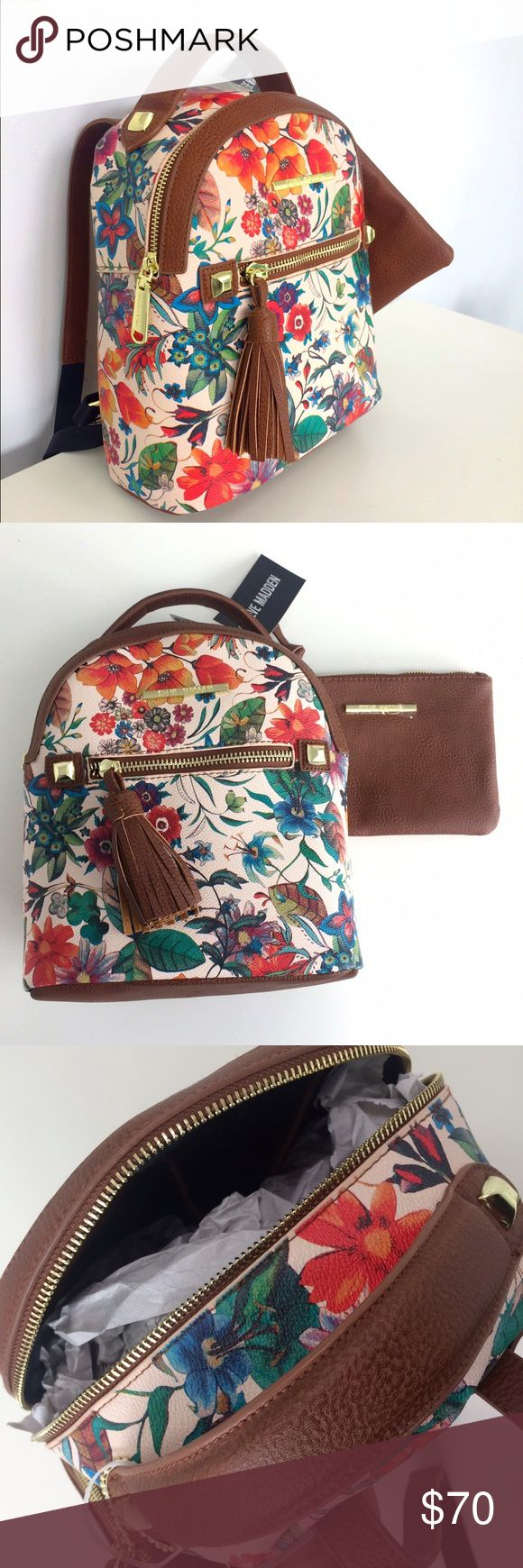Steve Madden Floral backpack Small backpack, perfect for spring! Beautiful, colorful floral design 💐🌸🌼🌷🌹 NWT and comes with a small brown clutch Steve Madden Bags Backpacks