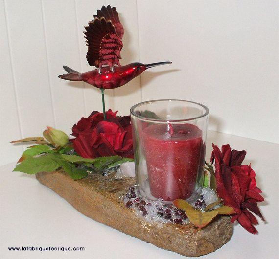 Chandelier RockFée, Colibri Rouge Jardin de Roses Rouge, Grenat et Quartz Rose de la boutique LAFABRIQUEFEERIQUE sur Etsy