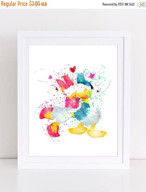 70%OFF Daisy And Donald Duck Love Poster Watercolor Disney