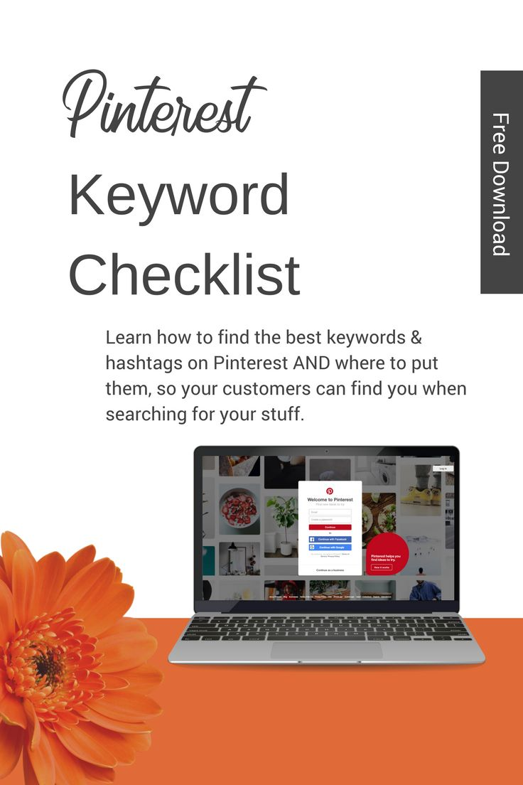 Get your free Pinterest keyword checklist to help you find keywords & hashtags on Pinterest for marketing your business. Let Pinterest help bring more customers to your site using this free checklist #pinterestmarketing #pinterestforbusiness