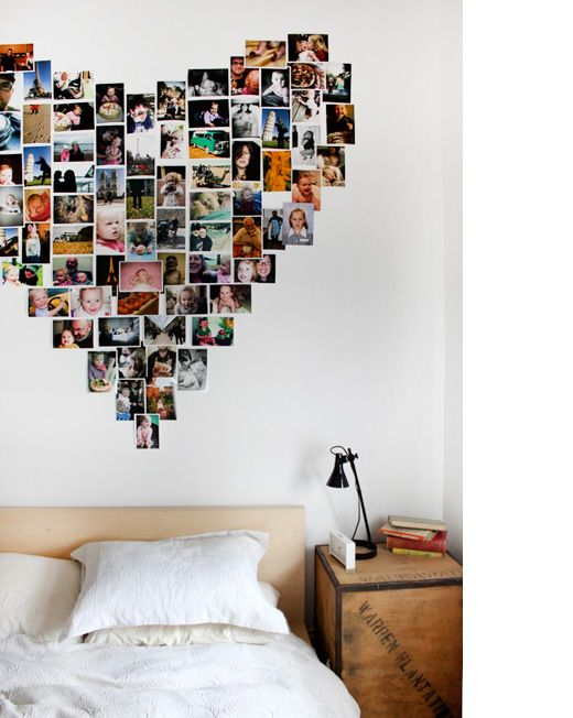 heart shaped photo collage. repurposed night stand