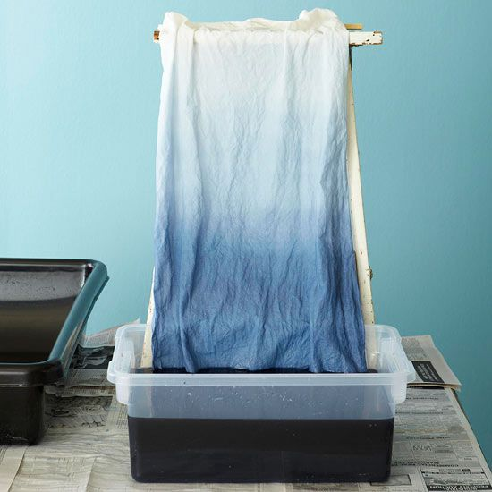 How to Ombre Dye Fabric: each time doubling the amount of dye you add and the amount of time you leave the fabric submerged. For more than three levels of ombre, you'll need to make more dye concentrate. Use a spring clamp and stool or ladder to hold fabric while dyeing if desired.