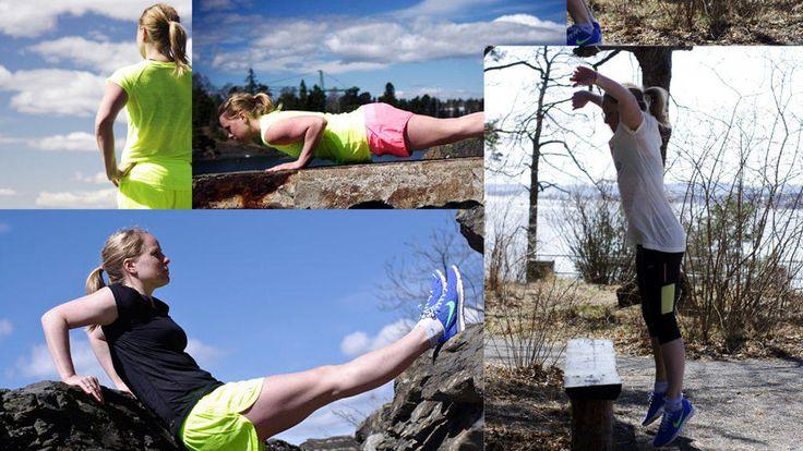 Lei av å puste og pese inne i sommerværet? Vi viser deg hvordan du får en helhetlig treningsøkt ute i det fri.