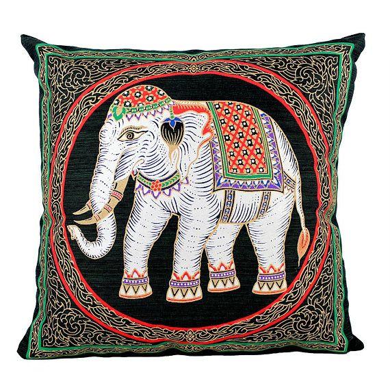 Thai Silk Pillow, Thai Handmade Silk Screen Art, Elephant Decorative Pillow, Elephant Pillow, Elephant Cushion, Thai Elephant Accent Pillow