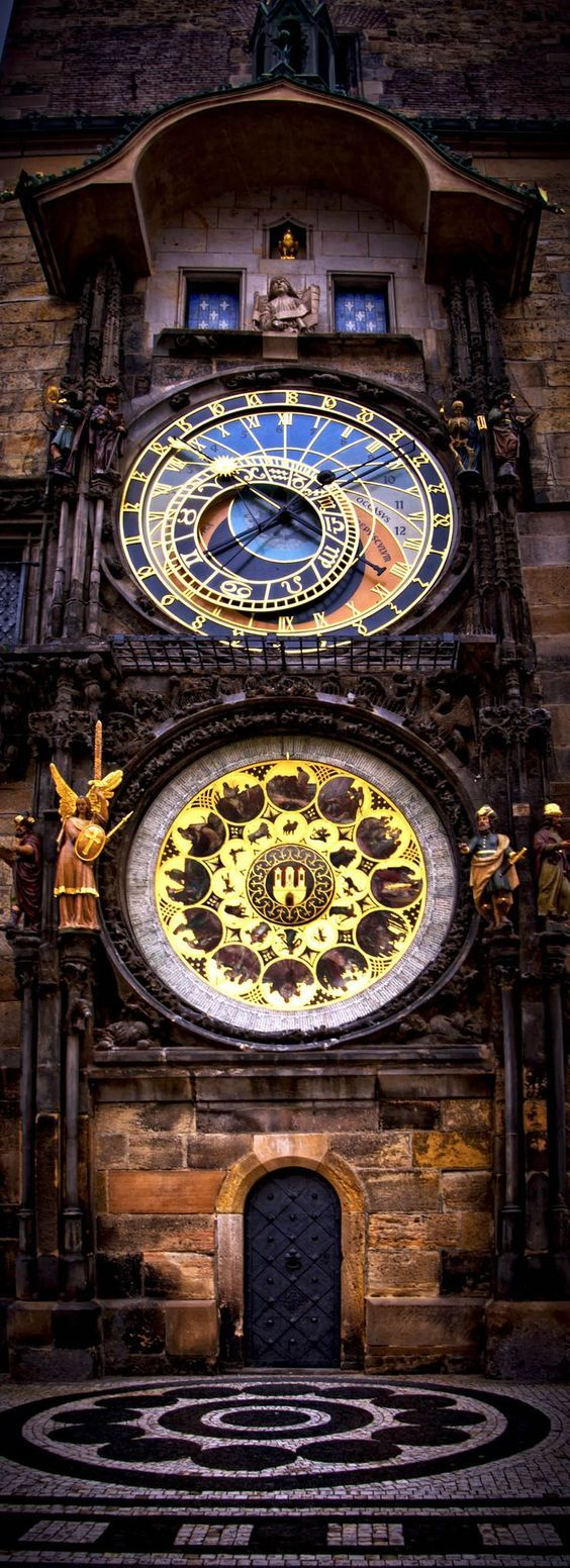 The intricate astronomical clock in Prague, Czech Republic. Find out what sights to see in this fascinating city.