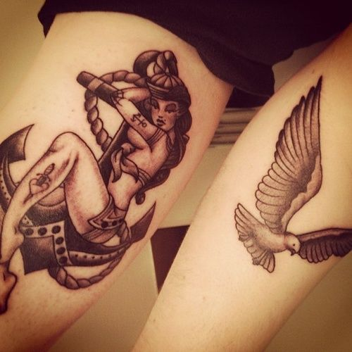 Pin Up Girl Anchor Bird Tattoos | Tattooshunt.com